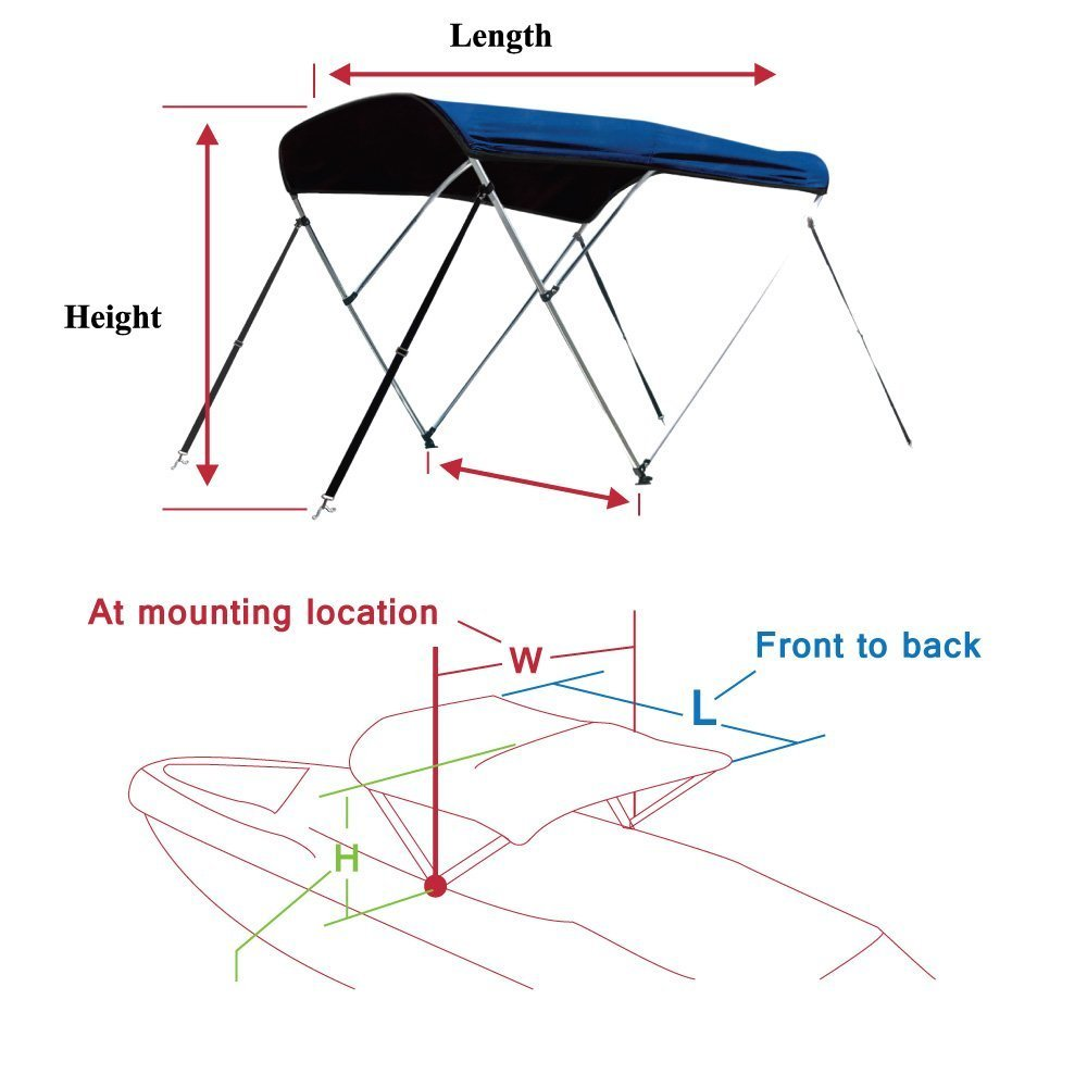 Leader Accessories 13 Colors 3 Bow Bimini Top Boat Cover 4 Straps for Front and Rear Includes Mounting Hardwares with 1 Inch Aluminum Frame