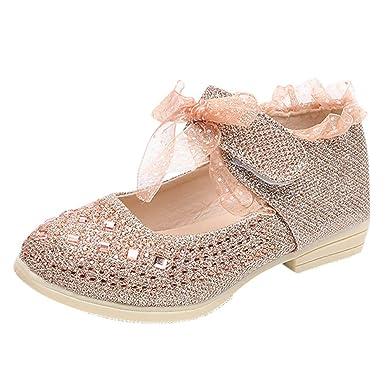 632abcae2 Girls Lace Shoes Flower Crochet Lace Ballet Flats Style (Toddler/Little  Girls) (