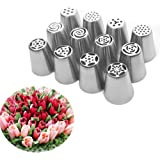 UTEN 12pcs Stainless Steel Russian Piping Nozzles Set DIY Pastry Icing Cake Decorating Tool (silver)