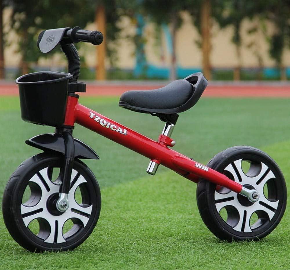 MENGLJ Bicicleta Deslizante para Niños Sin Pedales Bebé para Niños Carro De Equilibrio Deslizante De 1 Pie 2 Dos Rondas Doble 3-4 Años 5,Red