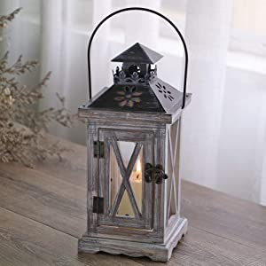 XHCP Lantern Candle Holder Vintage Distressed Wooden Metal Decorative Rustic Shabby Wedding Centerpiece Hanging Lantern Farmhouse Home Decor Indoor and Outdoor Lantern Decor,12.5 12.