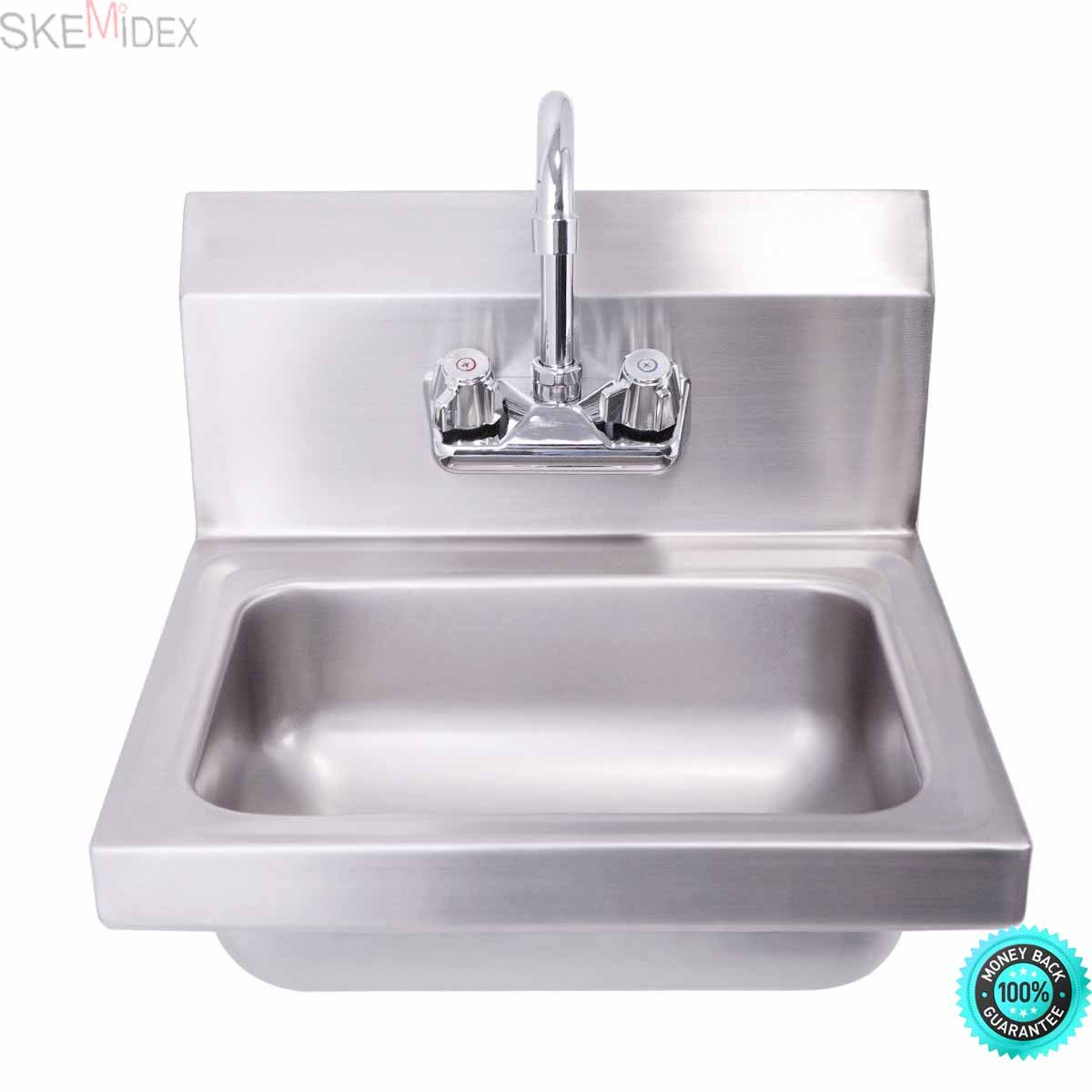 SKEMiDEX---Commercial Wall Mount Kitchen Hand Wash Sink NSF Stainless Steel with Faucet This is a hand sink with faucet, which is operated by double knee pedal.The hand sink is made of stainless