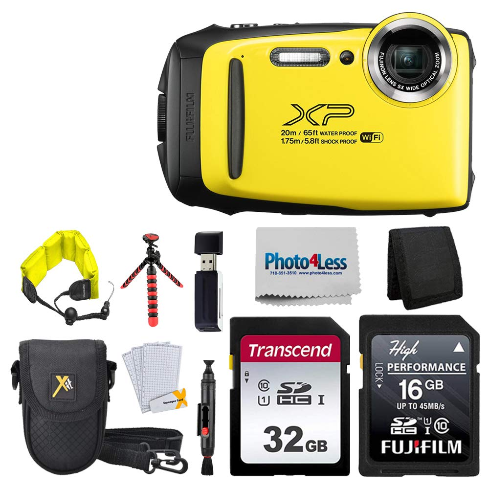 Fujifilm FinePix XP140 Digital Camera + 48GB SD Card + Floating Strap + Cleaning System + 12'' Flexible Tripod + Screen Protectors + SD Card Reader + Memory Card Wallet + Camera Case (Yellow)