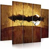 Feeby. Multipart Canvas - 5 panels - Wall Art Picture, Image Printed on Canvas, 5 parts, Type B, 150x100 cm, AFRICA, VIEW, SAVANNA, TREES, SUNRISE, YELLOW, BROWN