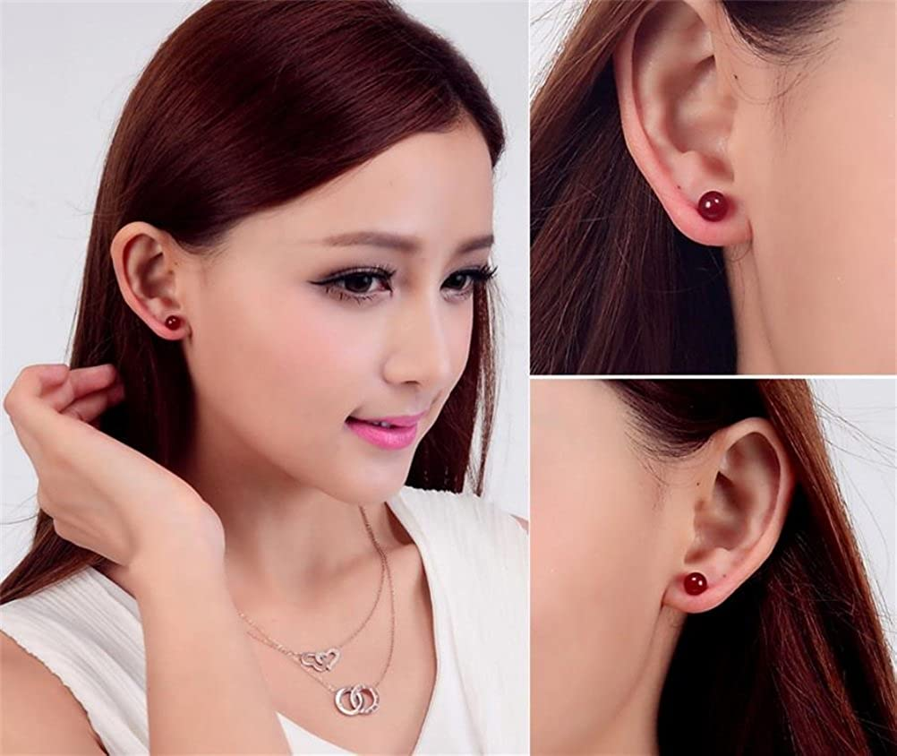 e21248aa1 10mm, Red Agate KOREA-JIAEN Earrings S925 Sterling Silver Plated Base 10mm  Red Agate Stud Earrings B01G769BVO_US