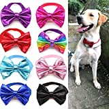 MaSue Pets 8pcs/Pack Large Dog Bow tie Collar Top Christmas Ties for Large Dogs Leather Pet Collars Dog Grooming Accessories
