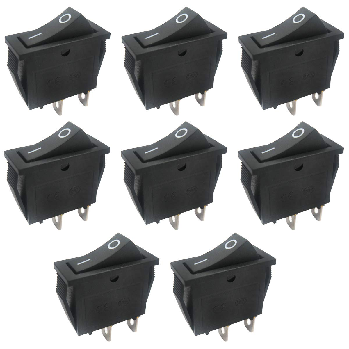 Taiss / 8Pcs AC 250V/15A, 125V/20A,Black ON/Off SPST 2 Pin 2 Position Mini Boat Rocker Switches Car Auto Boat Rocker Toggle Switch Snap (Warranty 1 Years)KCD3-101