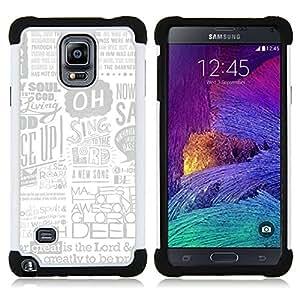 BullDog Case - FOR/Samsung Galaxy Note 4 SM-N910 N910 / - / SINGING QUOTE NEWSPAPER GOD ART POSTER AD /- H??brido Heavy Duty caja del tel??fono protector din??mico - silicona suave