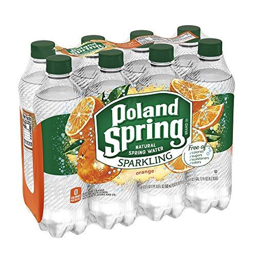 Poland Spring Sparkling Water, Orange, 16.9 oz. Bottles (Pack of 8)