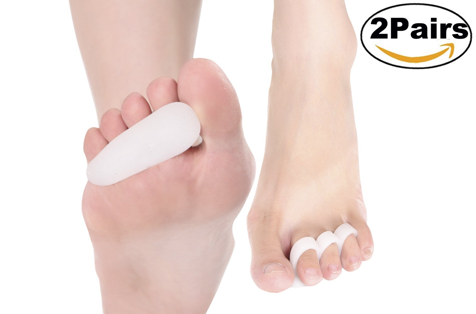 ERGOfoot 4PCS 3 Loop Gel Hammer Toe Pads Cushion Corrector & Straightener for Overlapping,Curled, Curved, Claw & Mallet Toe Relief - Right & Left