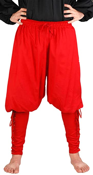Deluxe Adult Costumes - Pirate Captain Cottuy red lace-up fitted calf pirate pants costume