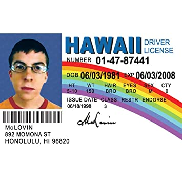 Amazon.com: Signs 4 Fun NMLID Mclovin Id License's Driver's ...