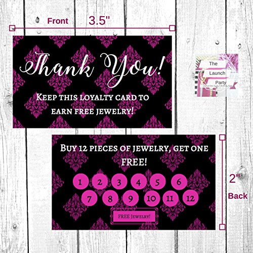 Paparazzi Jewelry Loyalty Cards | 50 Pk of Cards| Thank You Notes Black and Pink for Paparazzi | 5 Bling Buy 12 Get One Piece of Jewelry Free from Paparazzi Jewelry
