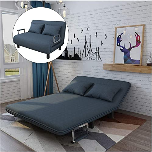 Follure Folding Sofa Bed, Convertible Couch Bed Chair, Full Padded Sleeper Bed Chair Lounger Souch Bed with Pillow 5 Position Blue Plus