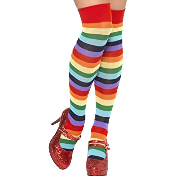 89890dfa61212 Regenbogen Kniestrümpfe Clown Strümpfe gestreift Ringelstrümpfe Overknees  bunt Ringelkniestrümpfe Clownskostüm Zubehör