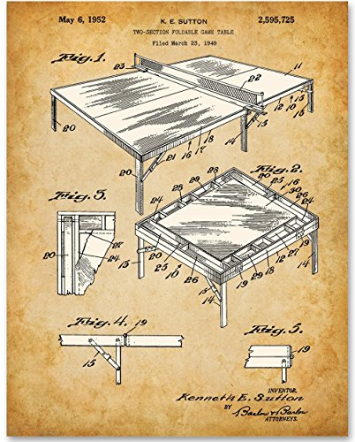 Ping Pong Table Tennis Art Print - 11x14 Unframed Patent Print - Great Decor for Game Room