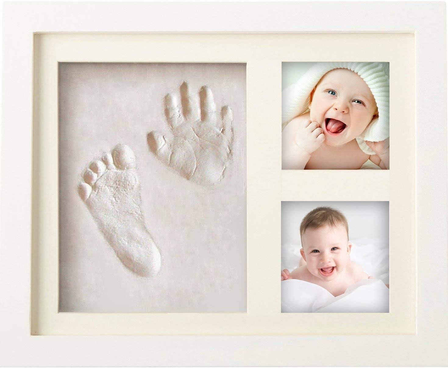 Marco de huellas de bebé Kit de arcilla Manos y pies del niño en arcilla Ideas de regalo Madre Cumpleaños Bautismo Nacimiento de bebé Bebé Niño Mesa de bebé y marco de fotos de pared