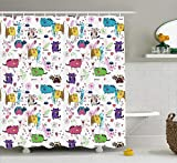 Cat Shower Curtain by Ambesonne, Trippy Kittens with Unusual Forms with Flower and Heart Figures Baby Kids Child Art Design, Fabric Bathroom Decor Set with Hooks, 70 Inches, Multi