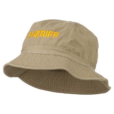 5599a53e76b Sheriff Embroidered Pigment Dyed Bucket Hat - Khaki OSFM at Amazon ...
