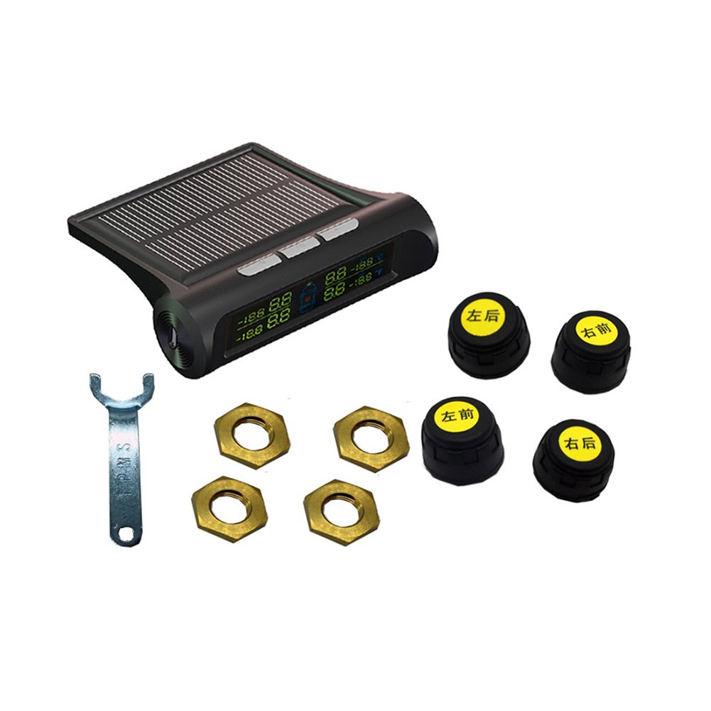 Solar Power Wireless LCD Tire Pressure Monitor System TPMS With 4 External Sensors Tire Pressure Gauge Wireless Intelligent LCD Display System 4 Tires' Pressure And Temperature Real Time