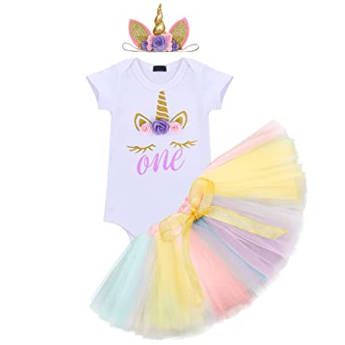 d48d845e460f Baby Kid Girls 1st Birthday Unicorn Outfit Costume Cake Smash Floral Romper  Tulle Tutu Skirt with