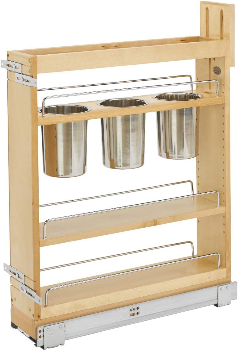 Rev-A-Shelf 448UT-BCSC-5C 448UT Series 5 Inch Kitchen Utensil Pull Out  Cabinet Organizer with Shelves for Kitchen Base Cabinets
