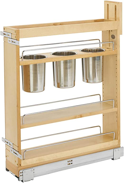 Amazon Com Rev A Shelf 448ut Bcsc 5c 5 Inch Kitchen Utensil Soft Close Pull Out Cabinet Organizer With Shelves Removable Bins And Soft Close Slides For Kitchen Base Cabinets Home Kitchen
