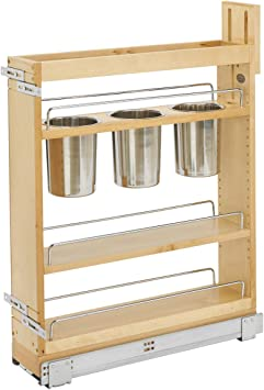 Rev A Shelf 448ut Bcsc 5c 5 Pull Out Wood Base Cabinet Utensil Organizer With 3 Bins Soft Close Slides Natural Amazon Ca Home Kitchen
