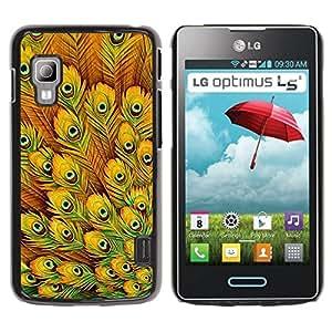 Paccase / SLIM PC / Aliminium Casa Carcasa Funda Case Cover para - Yellow Feathers Vibrant Bird Africa - LG Optimus L5 II Dual E455 E460
