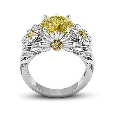 Amazon Com Fashion Ring Umfun Sunflower Diamond Ring Ladies