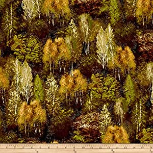 Kaufman Shades of the Season Metallic Forest Nature Fabric By The Yard