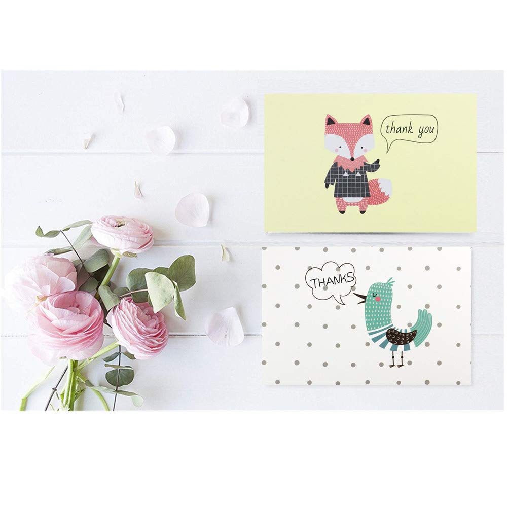 Fullive 24 Thank You Cards,6 Cartoon Animal Pattern Designs Thank You Notes Greeting Card with Envelops for All Occasion-Blank Inside (24 animal) by Fullive (Image #8)