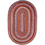 Super Area Rugs Tribeca Textured Braided Rug 100% Wool Rug Thick & Soft Red Casual Carpet, 2' X 3' Oval