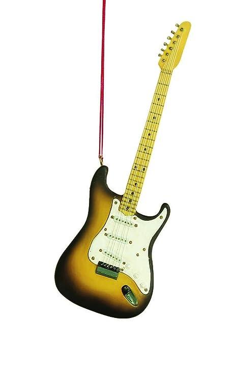 Guitarra eléctrica instrumento de música resina piedra adorno de árbol de Navidad