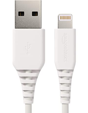 AmazonBasics Lightning to USB A Cable, MFi Certified iPhone Charger, White, 6 Foot, 2 Pack