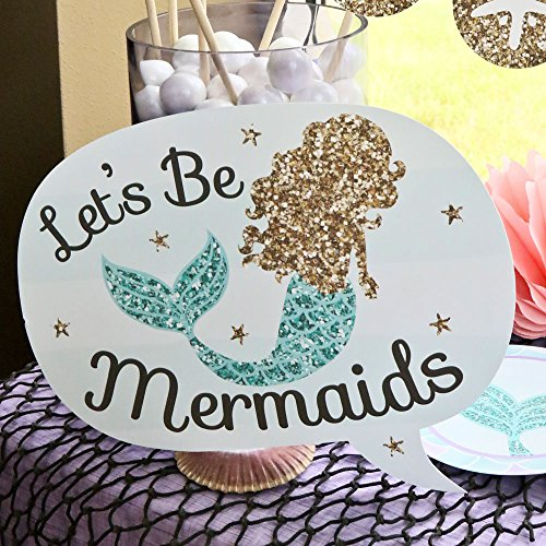 Large Product Image of Big Dot of Happiness Let's Be Mermaids - Baby Shower or Birthday Party Photo Booth Props Kit - 20 Count