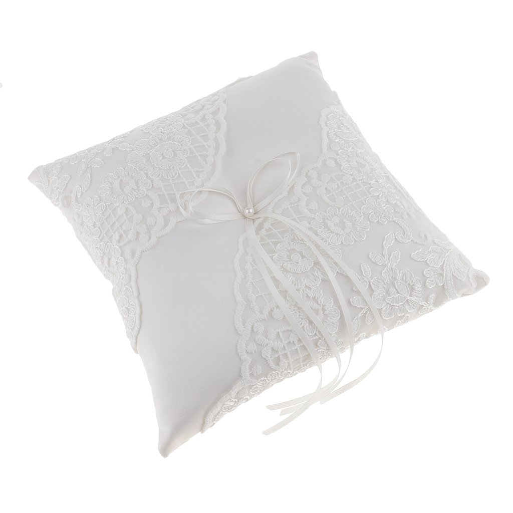 MagiDeal Wedding Party Satin Pearl Ribbon Lace Flower Ring Pillow Ring Bearer Cushion