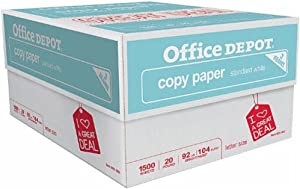 Office Depot 3-Ream Case Multipurpose Copy Fax Laser Inkjet Printer Paper, 8 1/2 x 11 inch Letter Size, 104 (Euro)/ 92 (US) Brightness, 20 Lb, White, 1500 Sheets Total (925382) by Office Depot