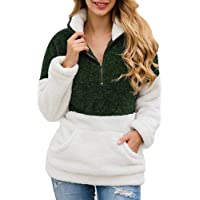 KUFV Women Long Sleeve Pullover Jumper Zipper Fleece Top Sweaters