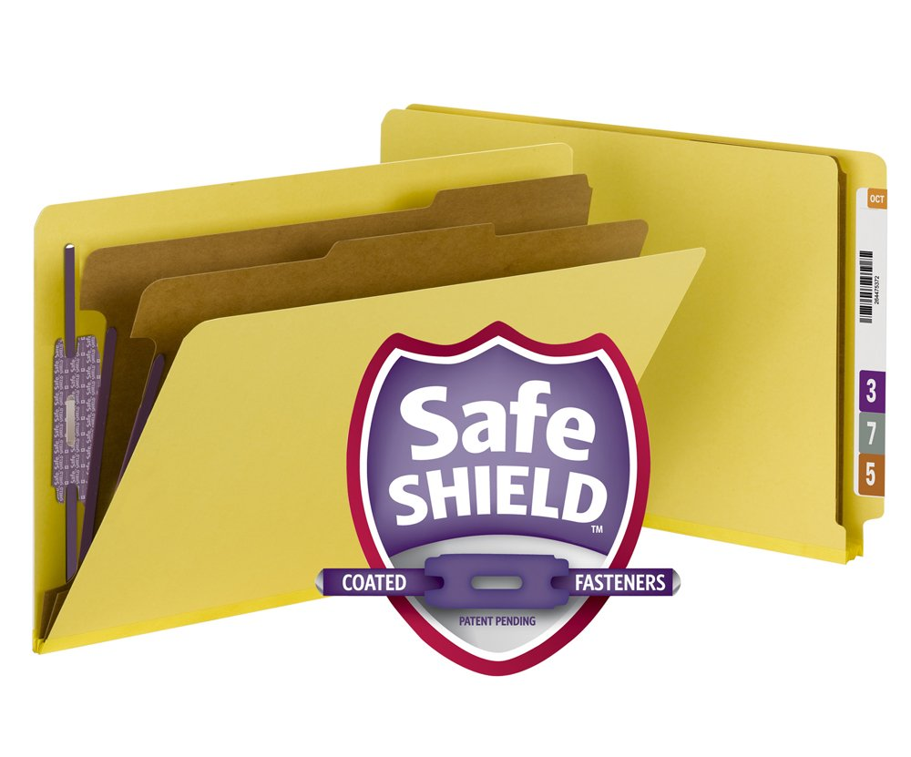 Smead End Tab Pressboard Classification File Folder with SafeSHIELD Fasteners, 2 Dividers, 2'' Expansion, Legal, Yellow, 10 per Box (29789) by Smead