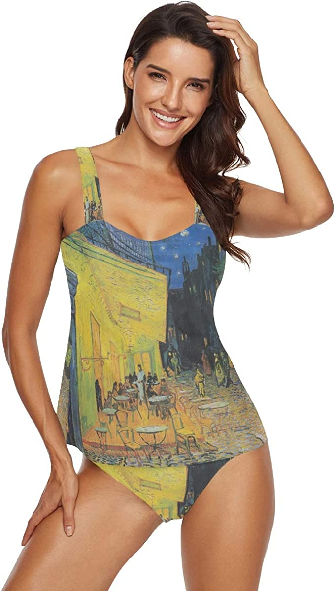 Bikini da donna Halter Tankini Set Van Gogh Cafe Terrace at Night Costume Bikini 2 pezzi