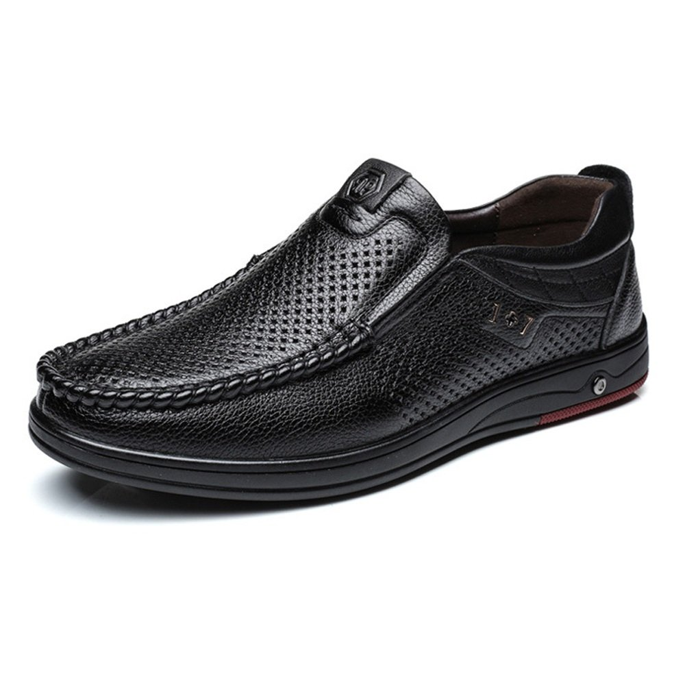 Black JIALUN-shoes Classic Men's Genuine Leather shoes Slip-on Breathable Perforation Soft Flat Sole Loafer Comfort shoes