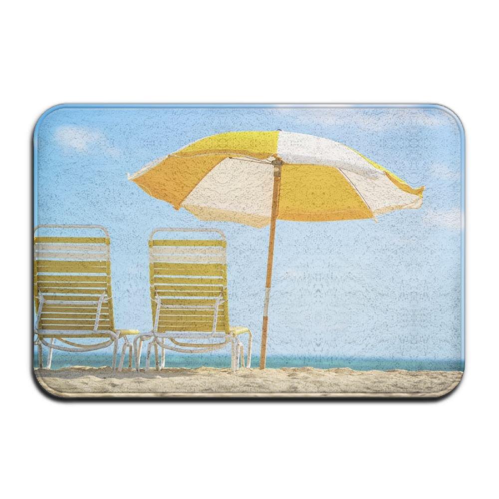 BINGO BAG Summer Beach Time Indoor Outdoor Entrance Printed Rug Floor Mats Shoe Scraper Doormat For Bathroom, Kitchen, Balcony, Etc 16 X 24 Inch