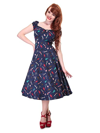 62f8fed324 Collectif Vintage Women s Flared Dolores Paper Pin-Up Doll Dress ...