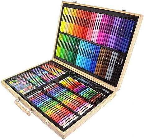 251 Unidades de Herramientas de Arte Juego de Pintura para Niños, Niños Dibujo, Color de Agua, Lápices de Colores, Pasteles Al Óleo para Niños con Estuche de Madera: Amazon.es: Hogar