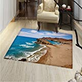 Landscape Area Rug Ocean View Tranquil Beach Cabo De Gata Spain Coastal Photo Scenic Summer Scenery Indoor/Outdoor Area Rug 2'x3' Blue Brown