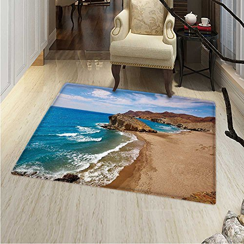 Landscape Area Rug Ocean View Tranquil Beach Cabo De Gata Spain Coastal Photo Scenic Summer Scenery Indoor/Outdoor Area Rug 2'x3' Blue Brown by Anhounine