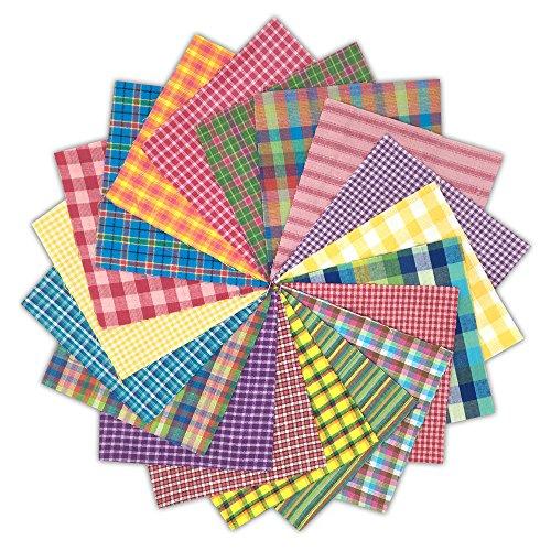 40 Bright Charm Pack, 6 inch Precut Cotton Homespun Fabric Squares by JCS