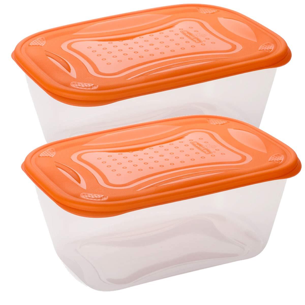 /BPA Free. Set di 2/contenitori salvafreschezza rettangolari con coperchio arancione di 3,2/l/