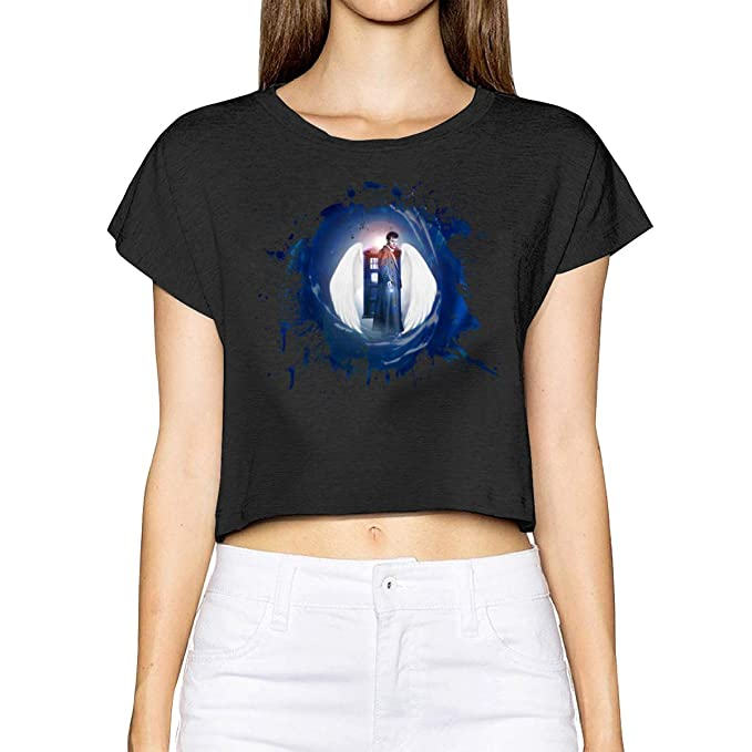 e8d490967df 6amLifestyle Doctor Who Womens Weekend Summer Short Sleeve Blouse Tee Crop  Top at Amazon Women s Clothing store